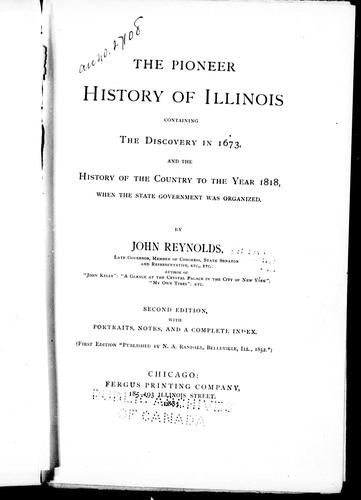 Download The pioneer history of Illinois