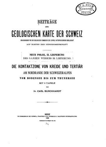 Matériaux pour La carte Géologique de la Suisse=: Materiali per La carta geologica della Svizzera