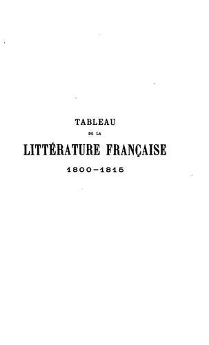Tableau de la littérature française 1800-1815