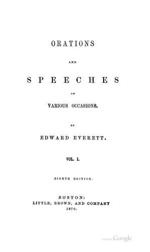 Orations and Speeches on Various Occasions