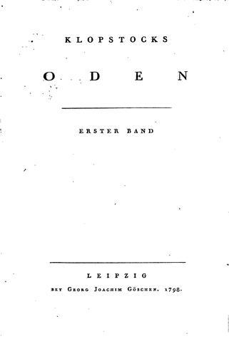 Klopstocks Oden…