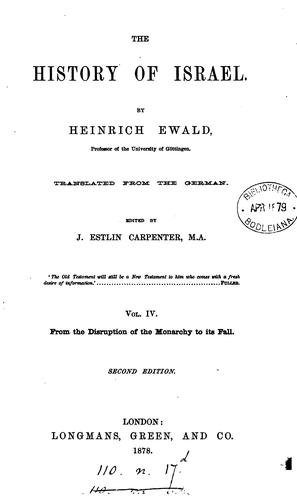 The history of Israel, tr., ed. by R. Martineau (J.E. Carpenter, J.F. Smith).