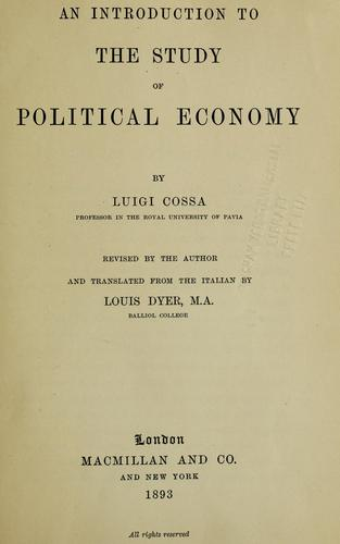 Download An introduction to the study of political economy