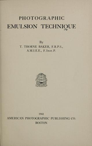 Download Photographic emulsion technique