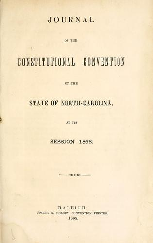 Download Journal of the Constitutional Convention of the state of North-Carolina
