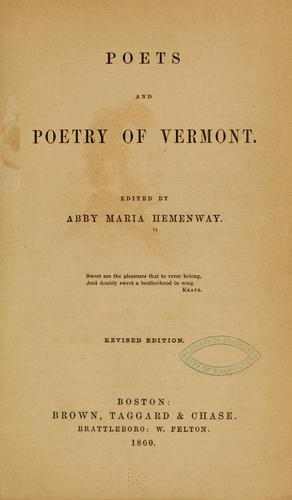 Download Poets and poetry of Vermont.