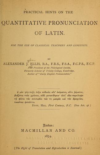 Practical hints on the quantitative pronunciation of Latin