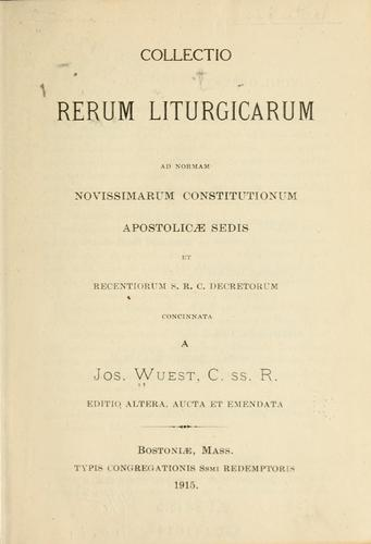 Download Collectio rerum liturgicarum