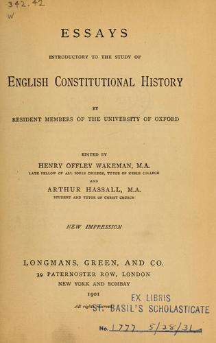 Download Essays introductory to the study of English constitutional history