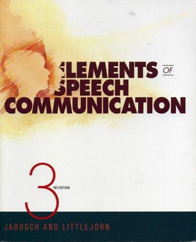 Elements of Speech Communication by David M. Jabusch