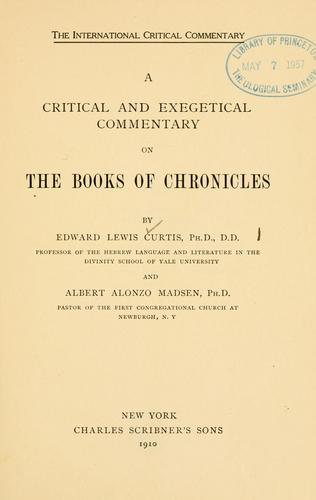 A critical and exegetical commentary on the books of Chronicles