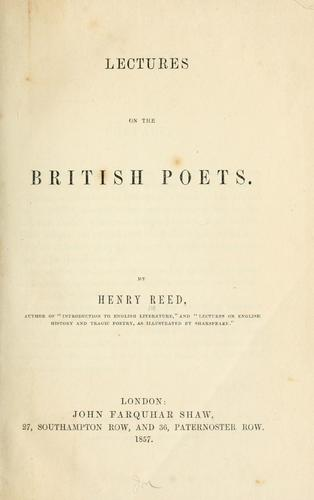 Download Lectures on the British poets