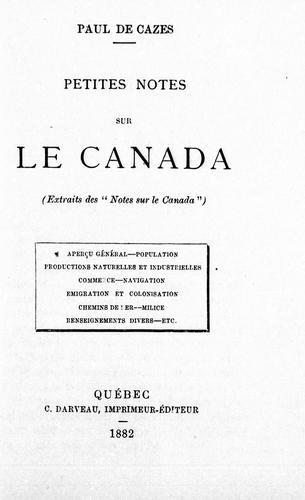 Petites notes sur le Canada