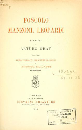 Download Foscolo, Manzoni, Leopardi