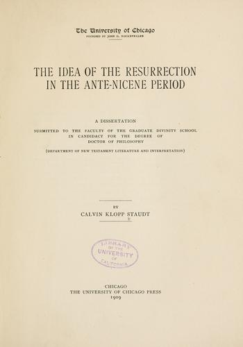Download The idea of the Resurrection in the ante-Nicene period