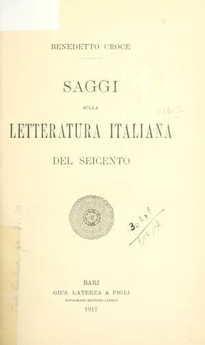 Download Saggi sulla letteratura italiana del seicento.