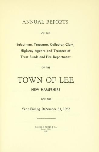 Download Report of the superintending school committee of the Town of Lee, N.H. for the year ending ..