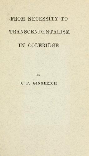 Download From necessity to transcendentalism in Coleridge.