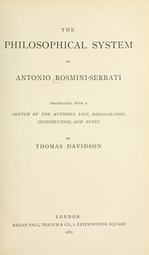 The Philosophical System Of Antonio Rosmini-Serbati (Open Library)
