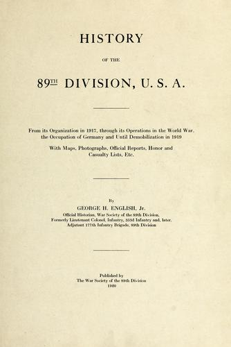 Download History of the 89th Division, U. S. A.