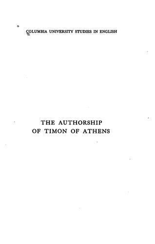 The authorship of Timon of Athens