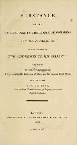 Download Substance of the proceedings in the House of Commons on Thursday, July 25, 1822