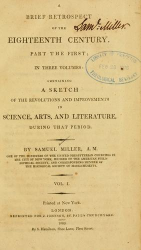 A brief retrospect of the eighteenth century.