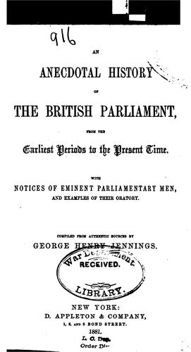 Download An anecdotal history of the British Parliament