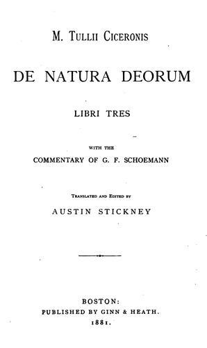 M. Tullii Ciceronis De natura deorum libri tres