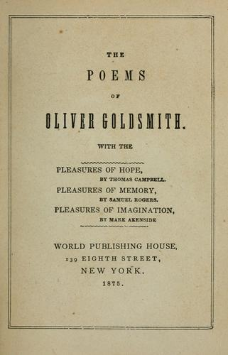 The poems of Oliver Goldsmith.
