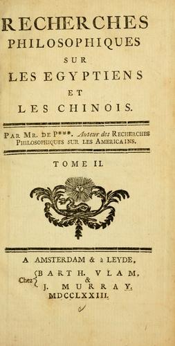 Download Recherches philosophiques sur les Egyptiens et les Chinois
