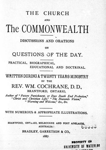 The Church and the commonwealth