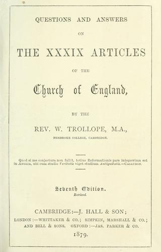 Download Questions and answers on the XXXIX articles of the Church of England