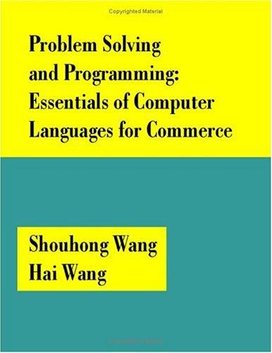 Image for Problem Solving and Programming: Essentials of Computer Languages for Commerce