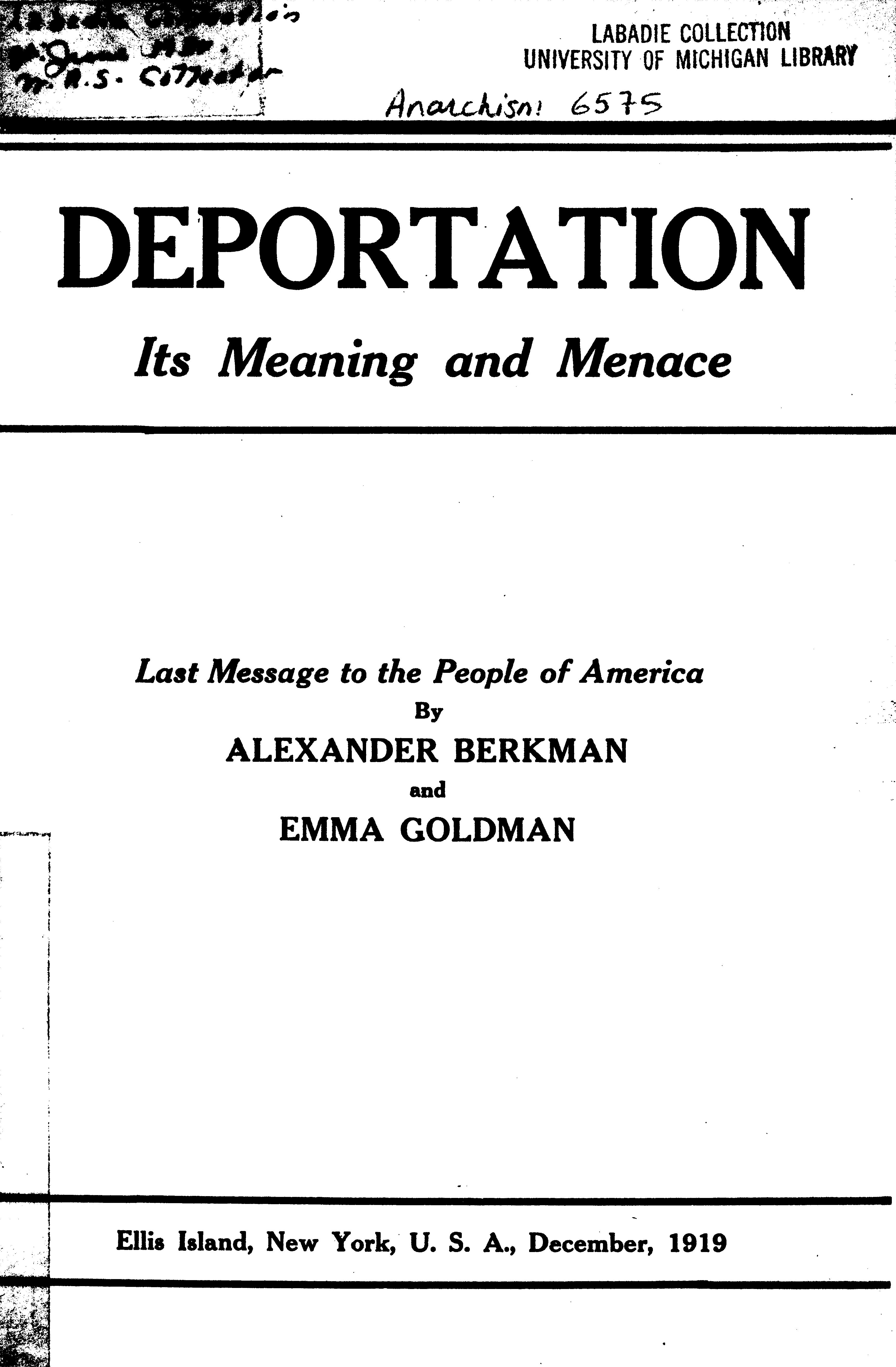 Cover of: Deportation: Its Meaning and Menace