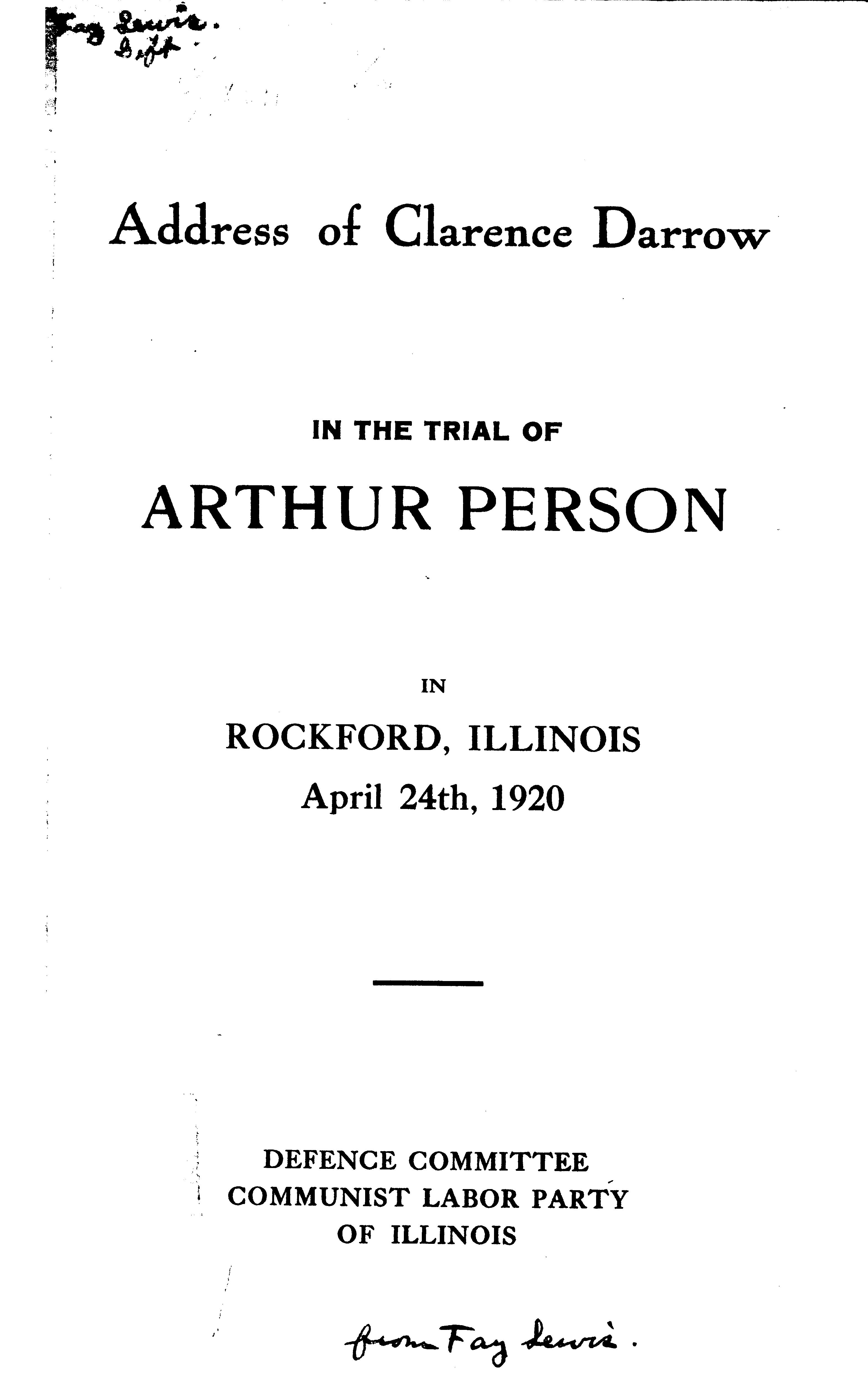 Cover of: Address of Clarence Darrow in the Trial of Arthur Person