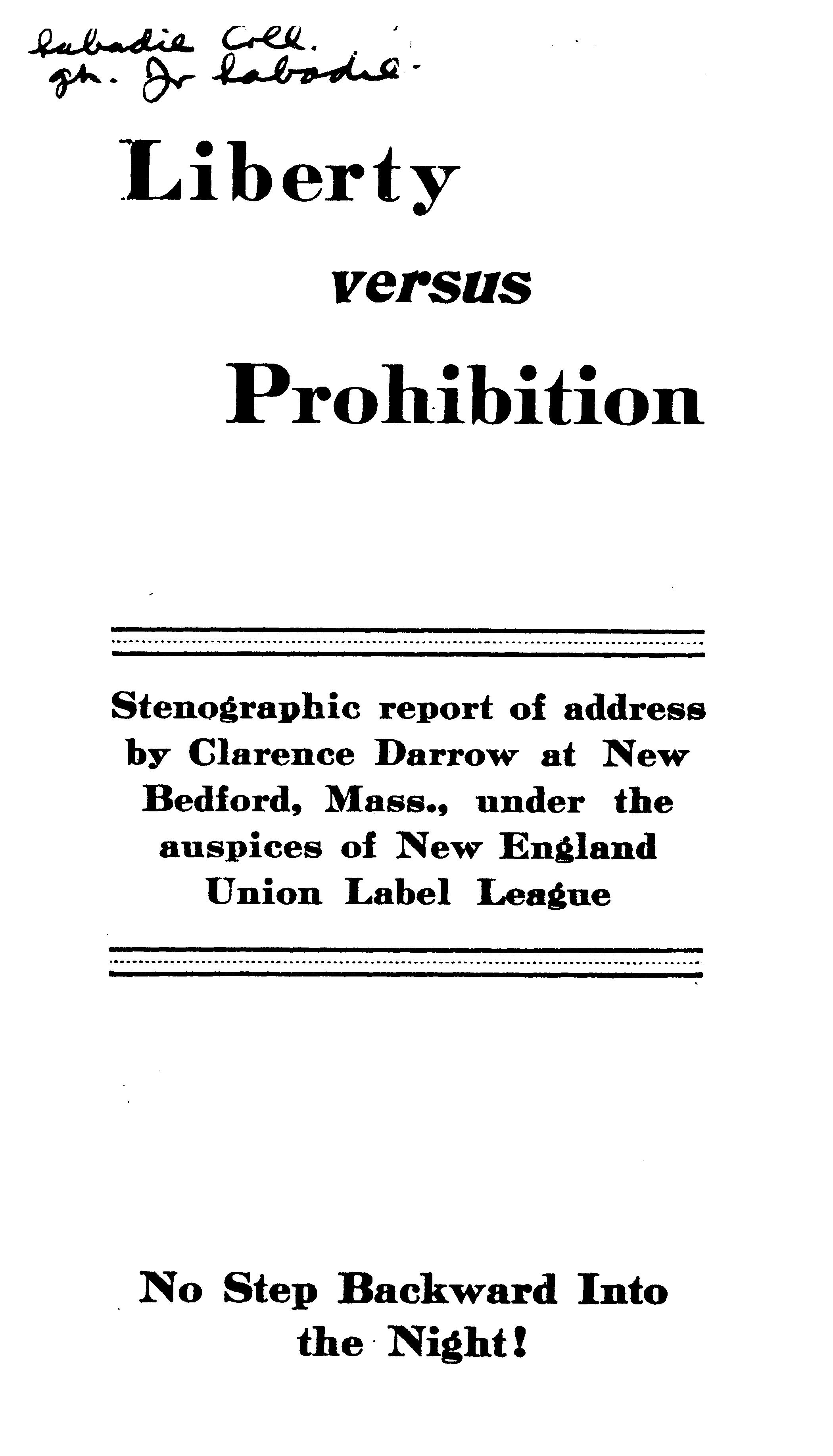 Cover of: Liberty Versus Prohibition