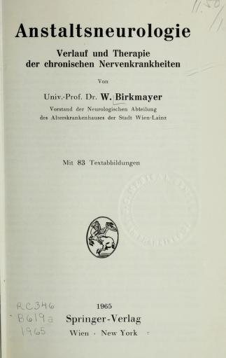 Anstaltsneurologie by Walther Birkmayer