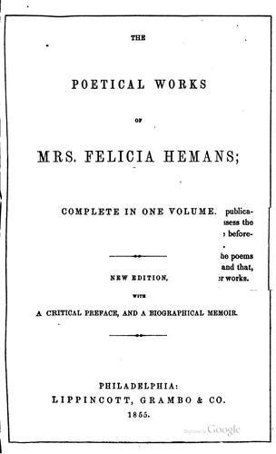 Poems by Felicia Dorothea Browne Hemans, Hemans Mrs
