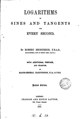 Logarithms of sines and tangents for every second by Robert Shortrede