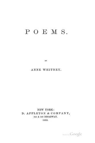 Poems by Anne Whitney