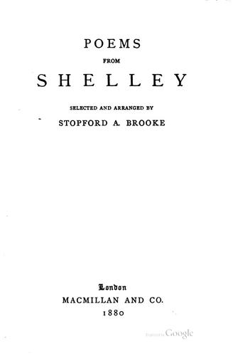 Poems By Percy Bysshe Shelley by Percy Bysshe Shelley