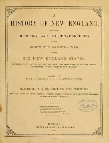 A history of New England by R. H. Howard