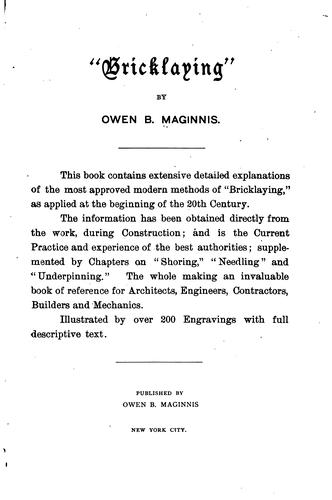 """Bricklaying,"" by Owen B. Maginnis"