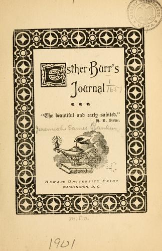 Esther Burr's journal …