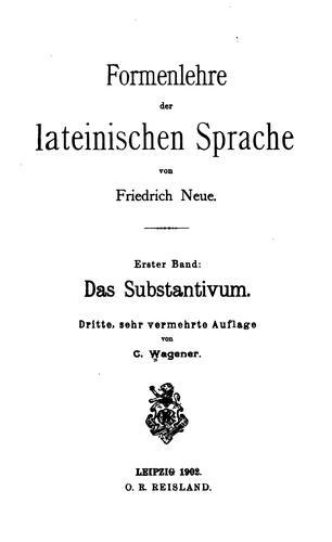 Formenlehre der lateinischen Sprache