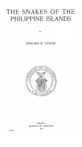 The snakes of the Philippine Islands by Edward Harrison Taylor