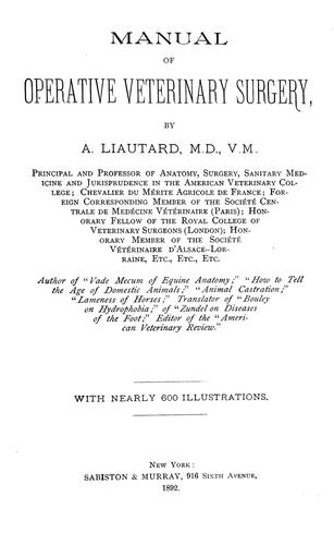 Manual of operative veterinary surgery by Alexandre François Augustin Liautard