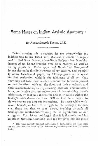 Some notes on Indian artistic anatomy. by Abanindranath Tagore