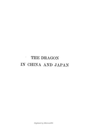 The dragon in China and Japan. by Marinus Willem de Visser